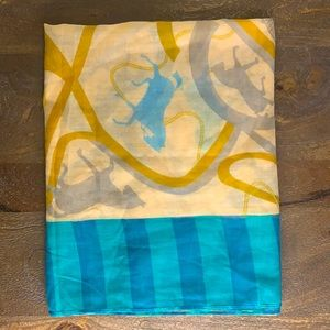 Mustard and Teal Equestrian Themed Long Scarf/Wrap